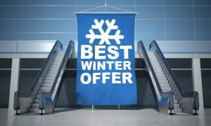 Best winter offer advertising flag and modern moving escalator stairs